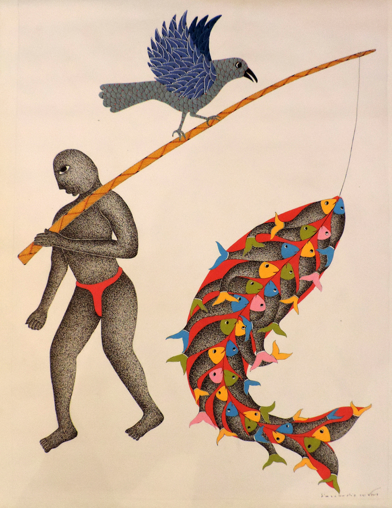 Gond Art | Fisherman by artist Venkat Raman Singh