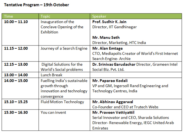 Amalthea 2013: schedule for 19th October 2013