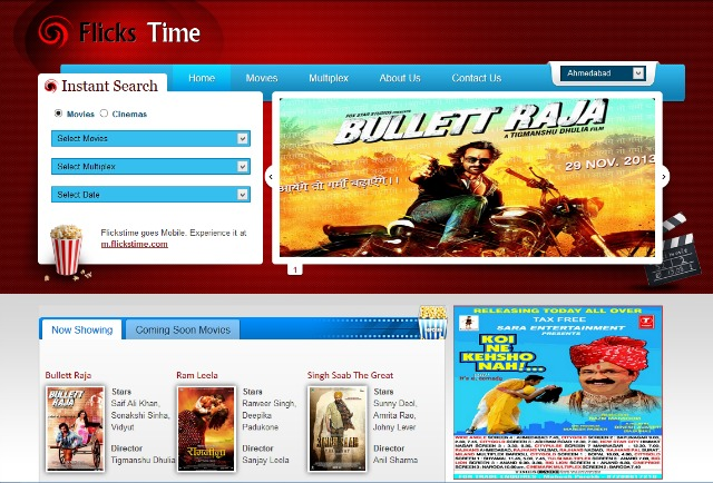Flickstime.com : Find movie timings in Ahmedabad
