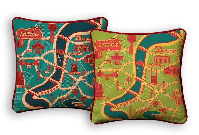 Ahmedabad Souvenirs:  A map of Ahmedabad city on cushion covers