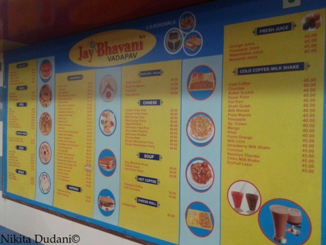 Illustrated menu at Jay Bhavani